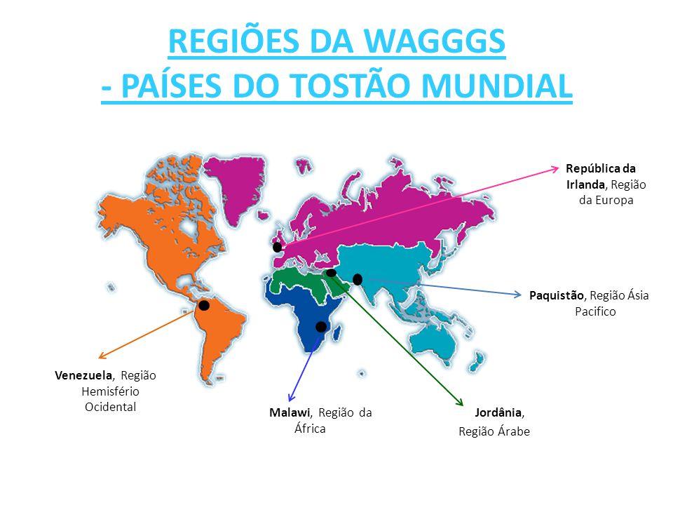 República da Irlanda, Região da Europa REGIÕES DA WAGGGS - PAÍSES DO TOSTÃO MUNDIAL Venezuela, Região Hemisfério Ocidental Malawi, Região da África Pa