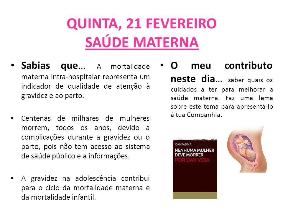 QUINTA, 21 FEVEREIRO SAÚDE MATERNA Sabias que… A mortalidade materna intra-hospitalar representa um indicador de qualidade de atenção à gravidez e ao