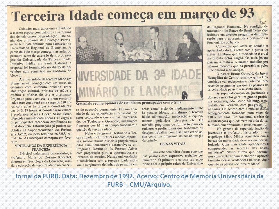 Jornal da FURB. Data: Dezembro de 1992. Acervo: Centro de Memória Universitária da FURB – CMU/Arquivo.