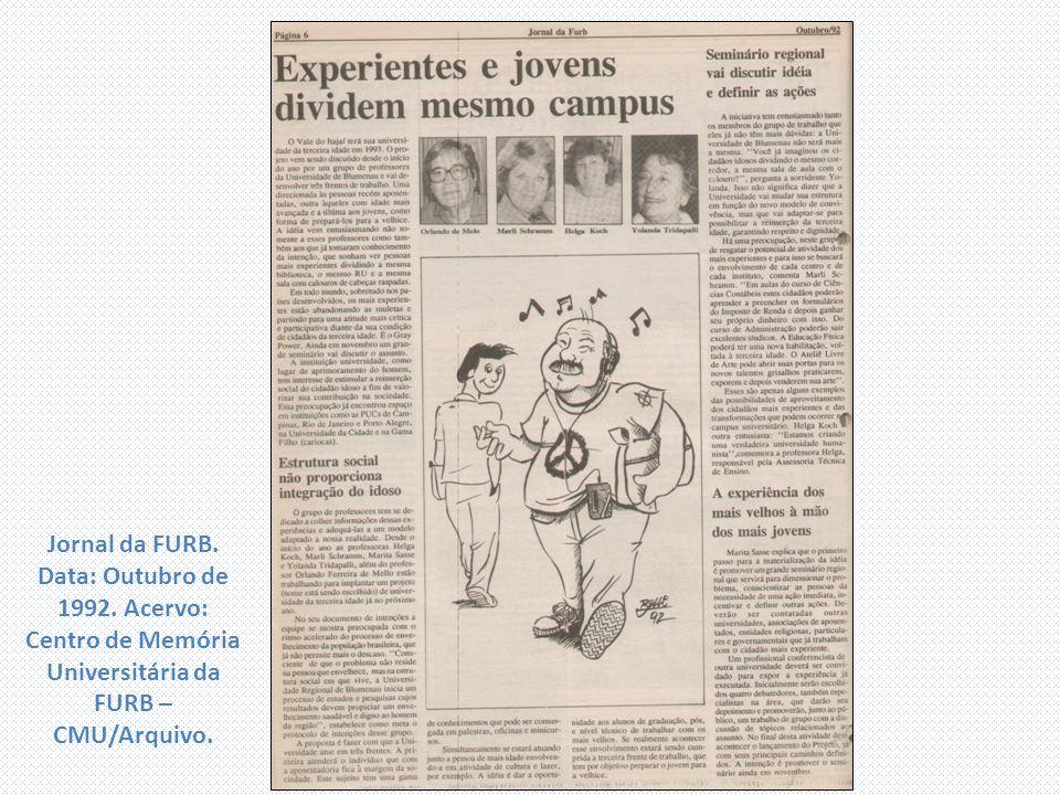 Jornal da FURB. Data: Outubro de 1992. Acervo: Centro de Memória Universitária da FURB – CMU/Arquivo.
