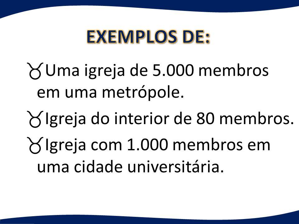 _Uma igreja de 5.000 membros em uma metrópole. _Igreja do interior de 80 membros.