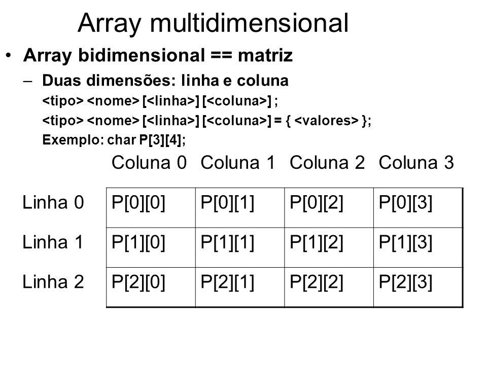 Array multidimensional Array bidimensional == matriz –Duas dimensões: linha e coluna [ ] [ ] ; [ ] [ ] = { }; Exemplo: char P[3][4]; Coluna 0Coluna 1C