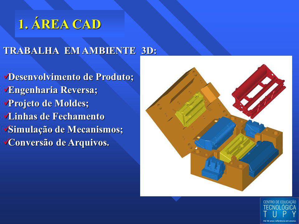 1. ÁREA CAD TRABALHA EM AMBIENTE 3D: Desenvolvimento de Produto; Desenvolvimento de Produto; Engenharia Reversa; Engenharia Reversa; Projeto de Moldes