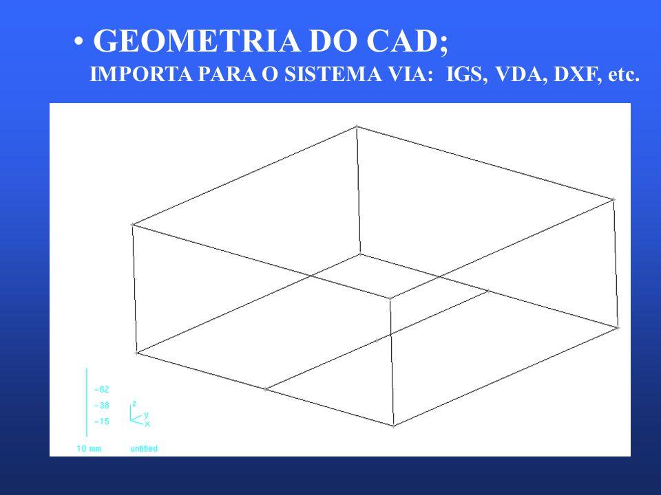GEOMETRIA DO CAD; IMPORTA PARA O SISTEMA VIA: IGS, VDA, DXF, etc.