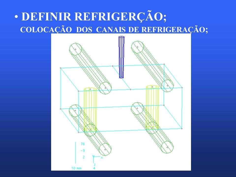 DEFINIR REFRIGERÇÃO; COLOCAÇÃO DOS CANAIS DE REFRIGERAÇÃO ;