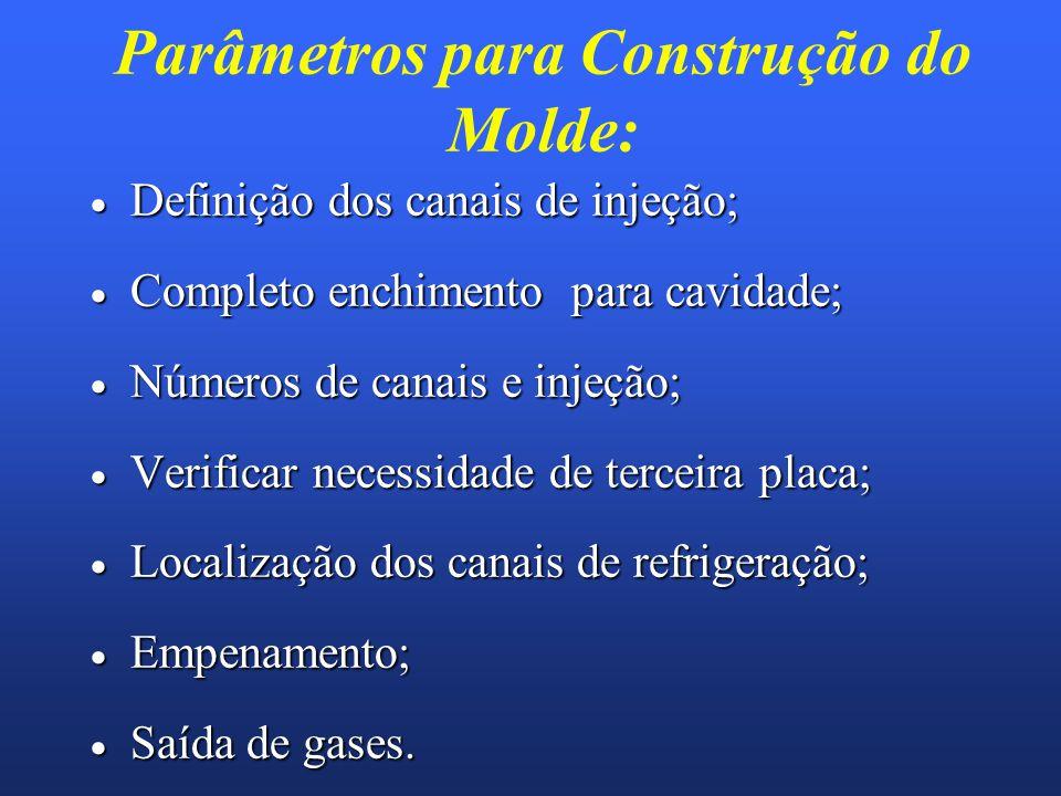 Parâmetros para Construção do Molde: Definição dos canais de injeção; Definição dos canais de injeção; Completo enchimento para cavidade; Completo enc