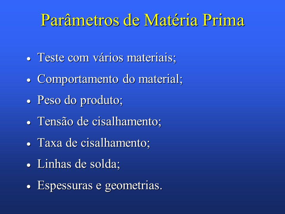 Parâmetros de Matéria Prima Teste com vários materiais; Teste com vários materiais; Comportamento do material; Comportamento do material; Peso do prod