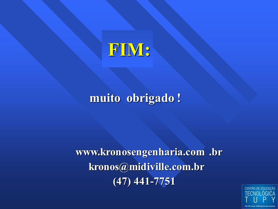 FIM: FIM: muito obrigado ! muito obrigado ! www.kronosengenharia.com.br www.kronosengenharia.com.br kronos@midiville.com.br kronos@midiville.com.br (4