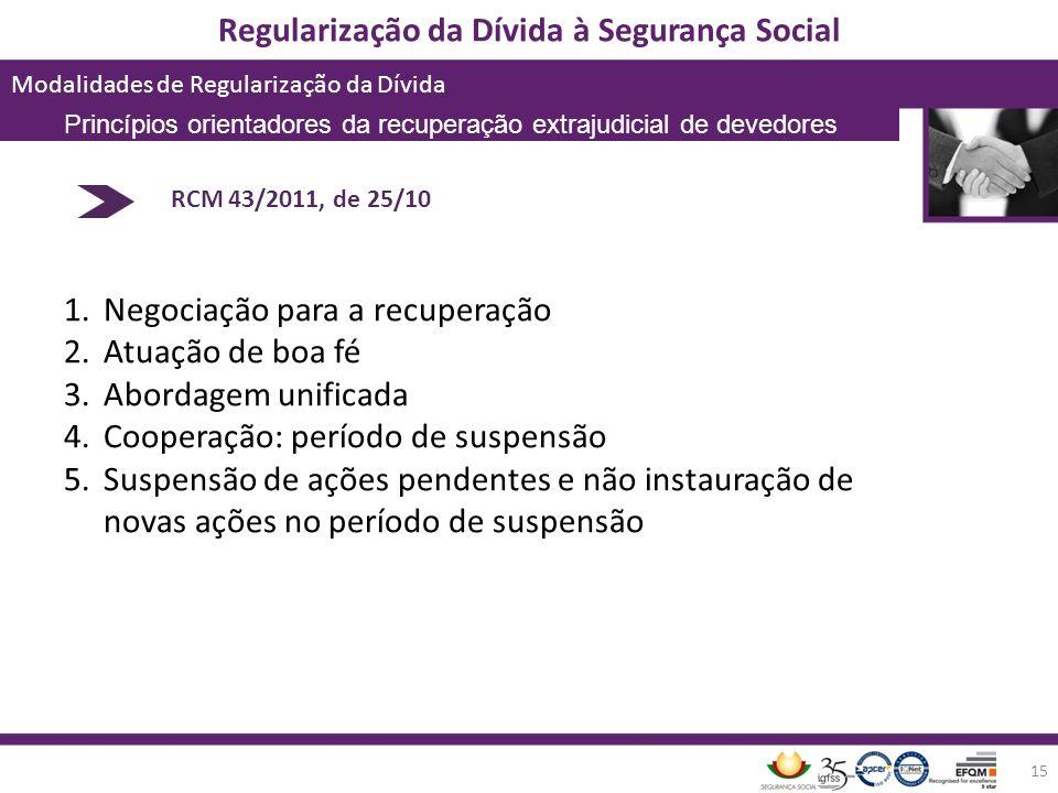 Regularização da Dívida à Segurança Social Modalidades de Regularização da Dívida 15 RCM 43/2011, de 25/10 1.Negociação para a recuperação 2.Atuação d