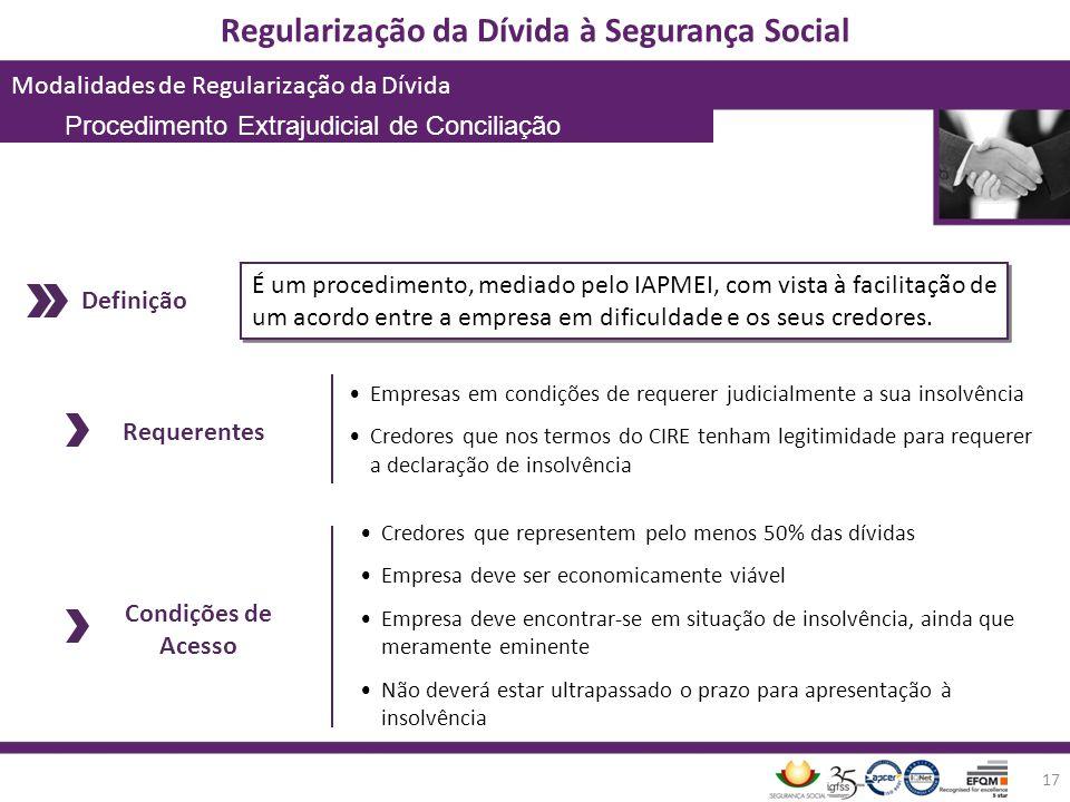 Regularização da Dívida à Segurança Social Modalidades de Regularização da Dívida 17 É um procedimento, mediado pelo IAPMEI, com vista à facilitação d