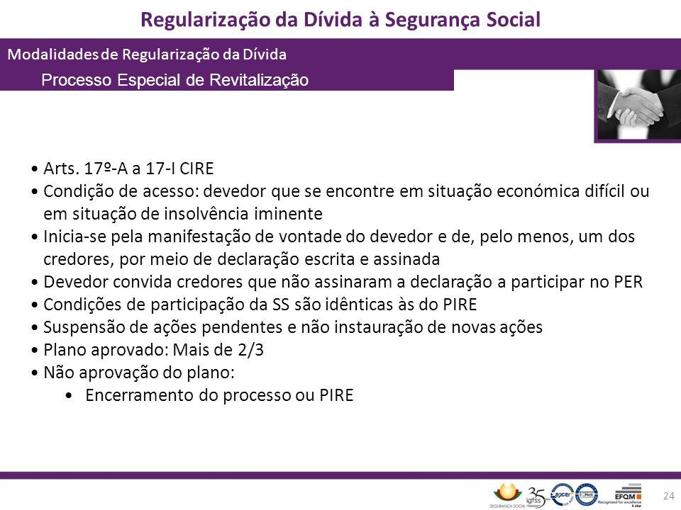 Regularização da Dívida à Segurança Social Modalidades de Regularização da Dívida 24 Arts. 17º-A a 17-I CIRE Condição de acesso: devedor que se encont