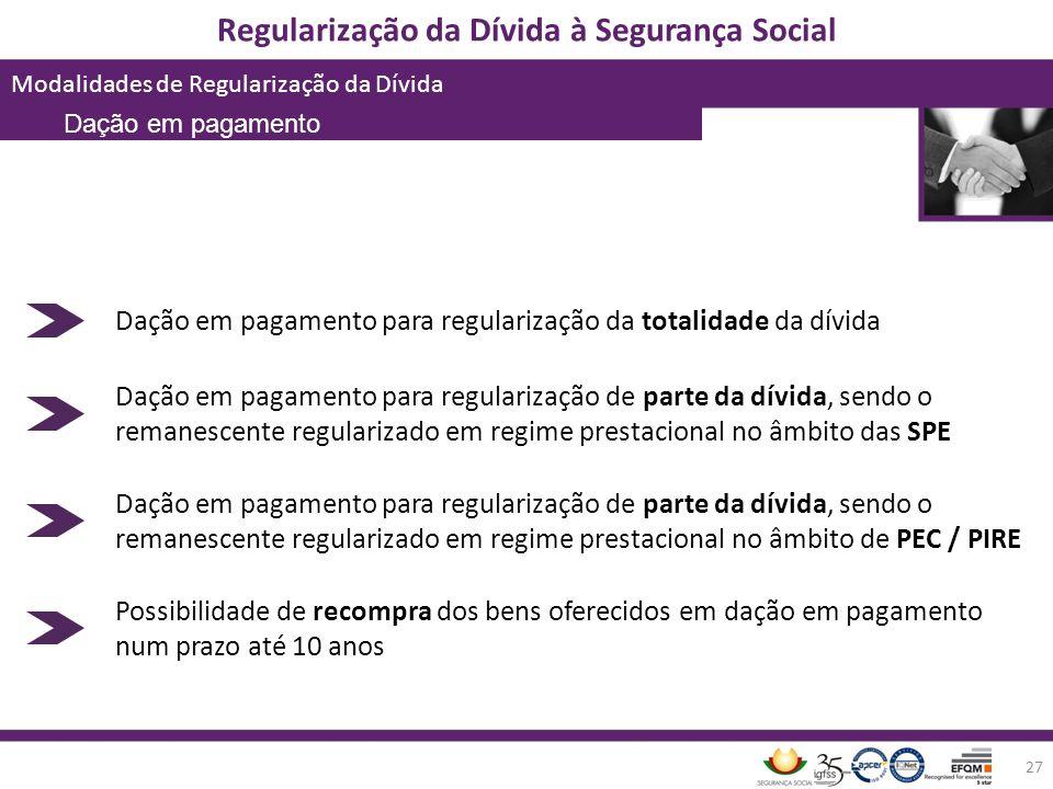 Regularização da Dívida à Segurança Social Modalidades de Regularização da Dívida 27 Dação em pagamento para regularização da totalidade da dívida Daç
