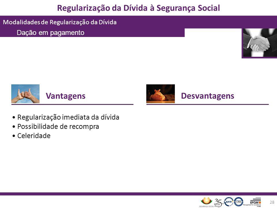 Regularização da Dívida à Segurança Social Modalidades de Regularização da Dívida 28 Vantagens Regularização imediata da dívida Possibilidade de recom