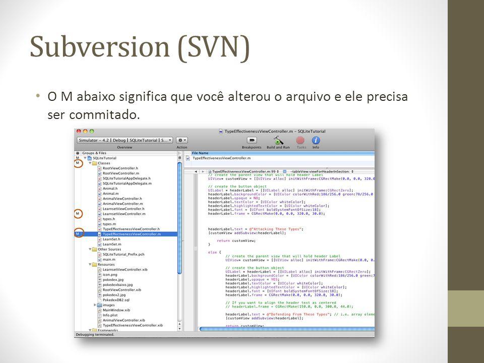 Subversion (SVN) O M abaixo significa que você alterou o arquivo e ele precisa ser commitado.
