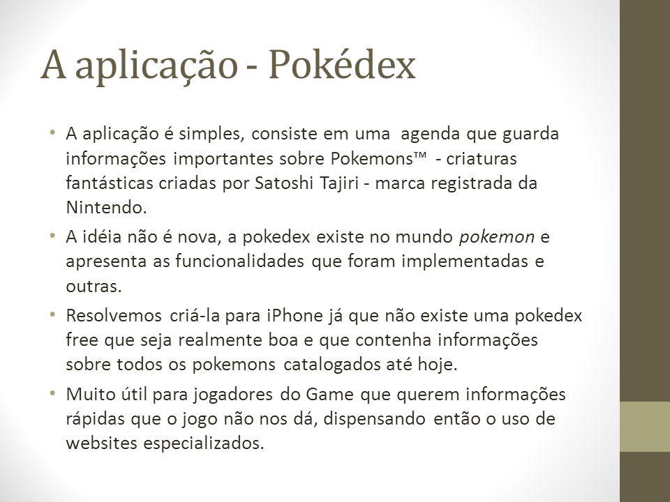 A aplicação - Pokédex A aplicação é simples, consiste em uma agenda que guarda informações importantes sobre Pokemons - criaturas fantásticas criadas