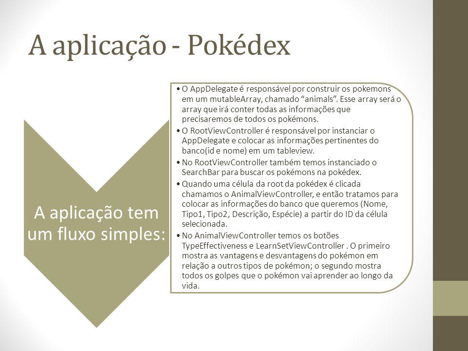 A aplicação - Pokédex A aplicação tem um fluxo simples: O AppDelegate é responsável por construir os pokemons em um mutableArray, chamado animals. Ess