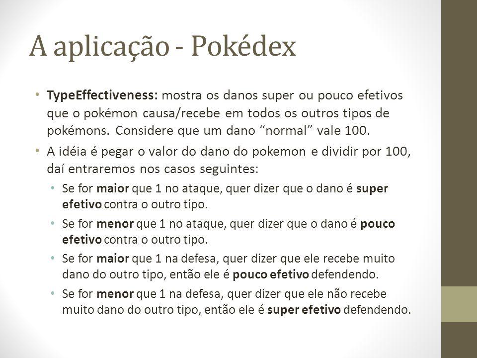 A aplicação - Pokédex TypeEffectiveness: mostra os danos super ou pouco efetivos que o pokémon causa/recebe em todos os outros tipos de pokémons. Cons