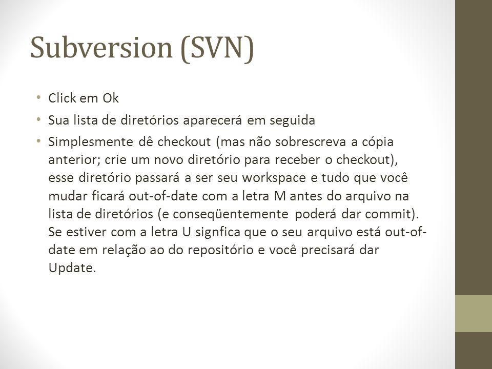Subversion (SVN) Click em Ok Sua lista de diretórios aparecerá em seguida Simplesmente dê checkout (mas não sobrescreva a cópia anterior; crie um novo