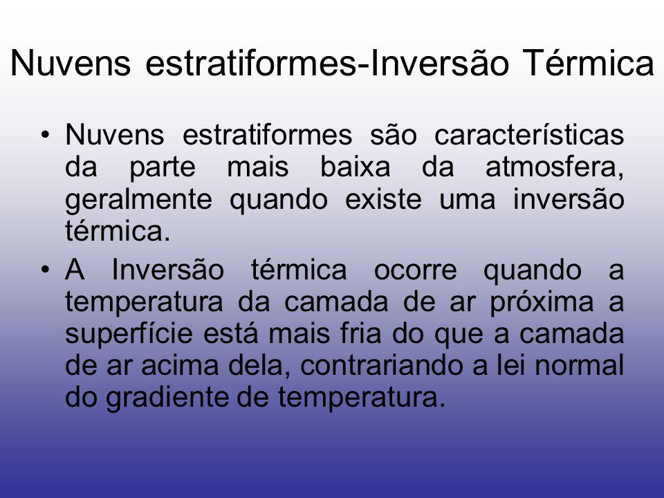 Nuvens estratiformes-Inversão Térmica Nuvens estratiformes são características da parte mais baixa da atmosfera, geralmente quando existe uma inversão térmica.