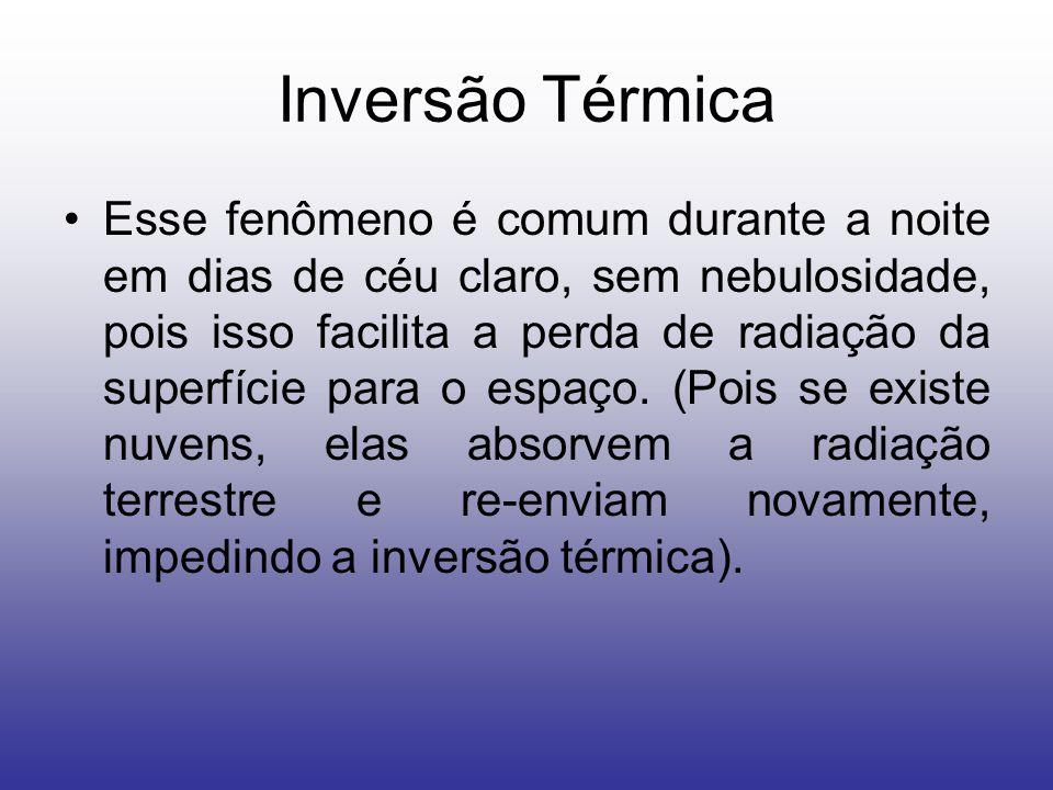 Inversão Térmica Esse fenômeno é comum durante a noite em dias de céu claro, sem nebulosidade, pois isso facilita a perda de radiação da superfície para o espaço.