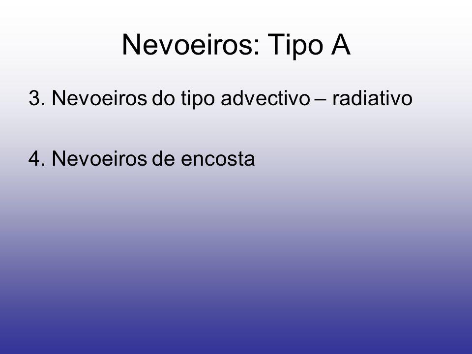 Nevoeiros: Tipo A 3. Nevoeiros do tipo advectivo – radiativo 4. Nevoeiros de encosta