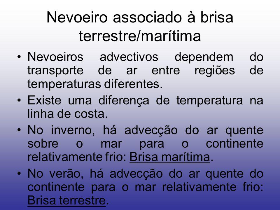 Nevoeiro associado à brisa terrestre/marítima Nevoeiros advectivos dependem do transporte de ar entre regiões de temperaturas diferentes.