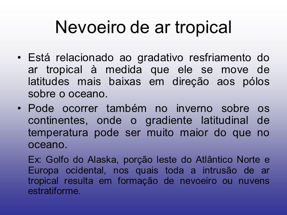 Nevoeiro de ar tropical Está relacionado ao gradativo resfriamento do ar tropical à medida que ele se move de latitudes mais baixas em direção aos pólos sobre o oceano.