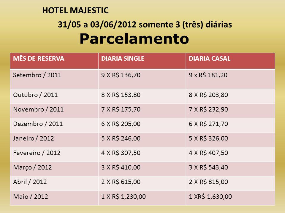 MÊS DE RESERVADIARIA SINGLEDIARIA CASAL Setembro / 20119 X R$ 136,709 x R$ 181,20 Outubro / 20118 X R$ 153,808 X R$ 203,80 Novembro / 20117 X R$ 175,7