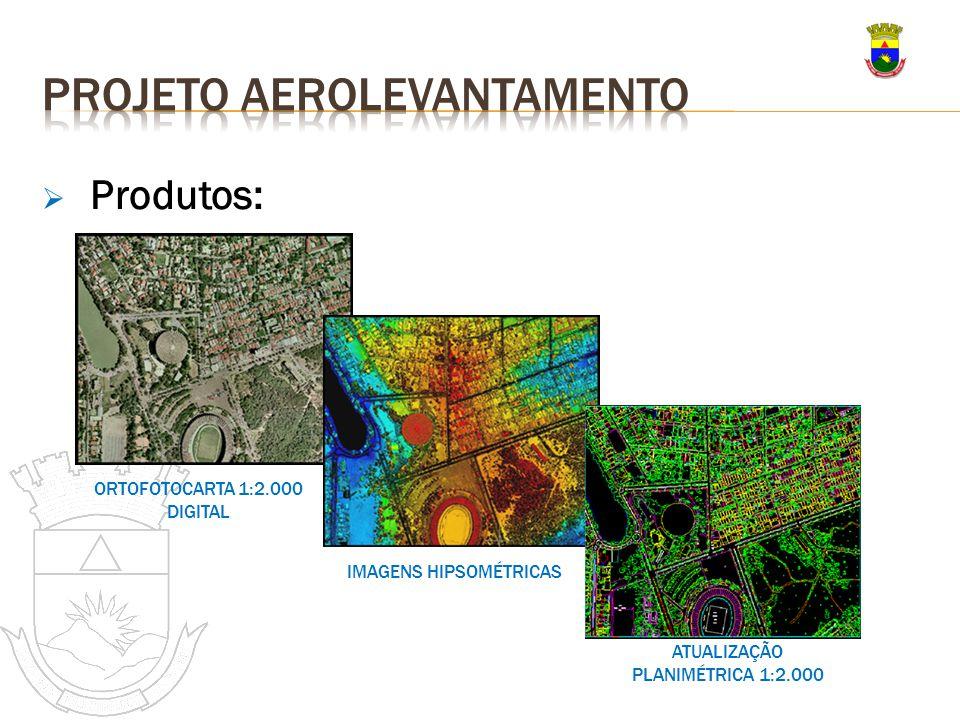 Produtos: ORTOFOTOCARTA 1:2.000 DIGITAL IMAGENS HIPSOMÉTRICAS ATUALIZAÇÃO PLANIMÉTRICA 1:2.000