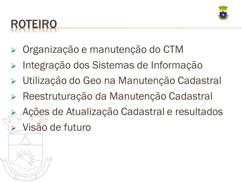 Organização e manutenção do CTM Integração dos Sistemas de Informação Utilização do Geo na Manutenção Cadastral Reestruturação da Manutenção Cadastral