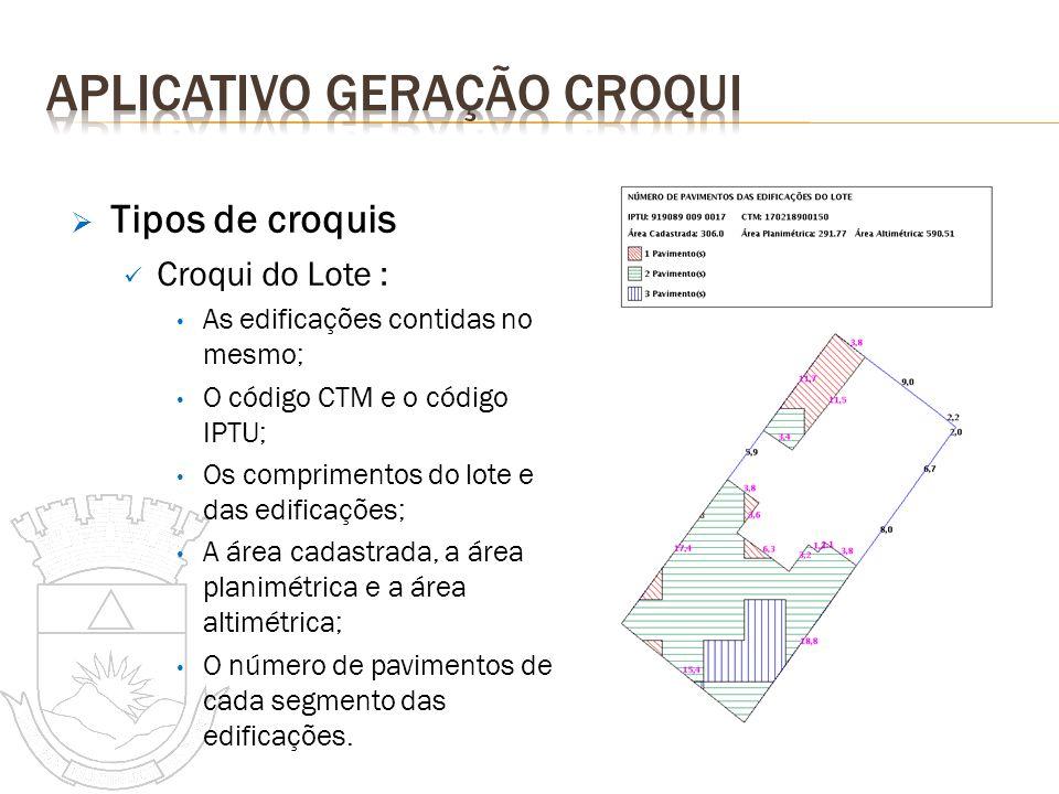 Tipos de croquis Croqui do Lote : As edificações contidas no mesmo; O código CTM e o código IPTU; Os comprimentos do lote e das edificações; A área ca