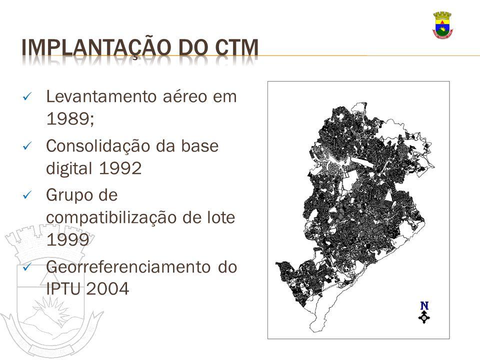 Levantamento aéreo em 1989; Consolidação da base digital 1992 Grupo de compatibilização de lote 1999 Georreferenciamento do IPTU 2004