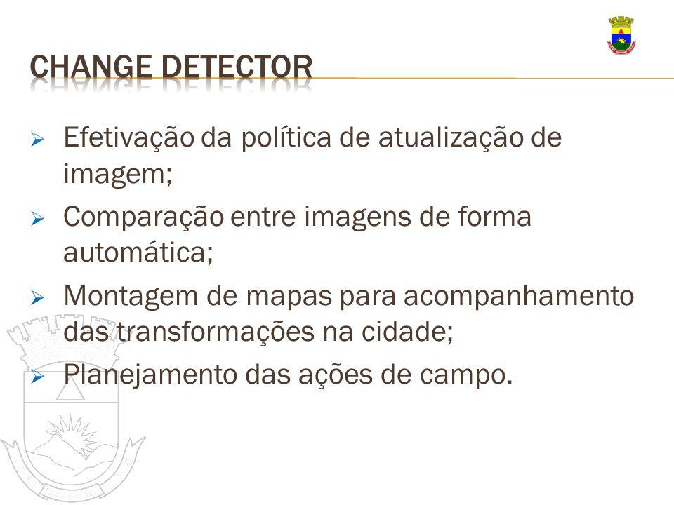 Efetivação da política de atualização de imagem; Comparação entre imagens de forma automática; Montagem de mapas para acompanhamento das transformaçõe