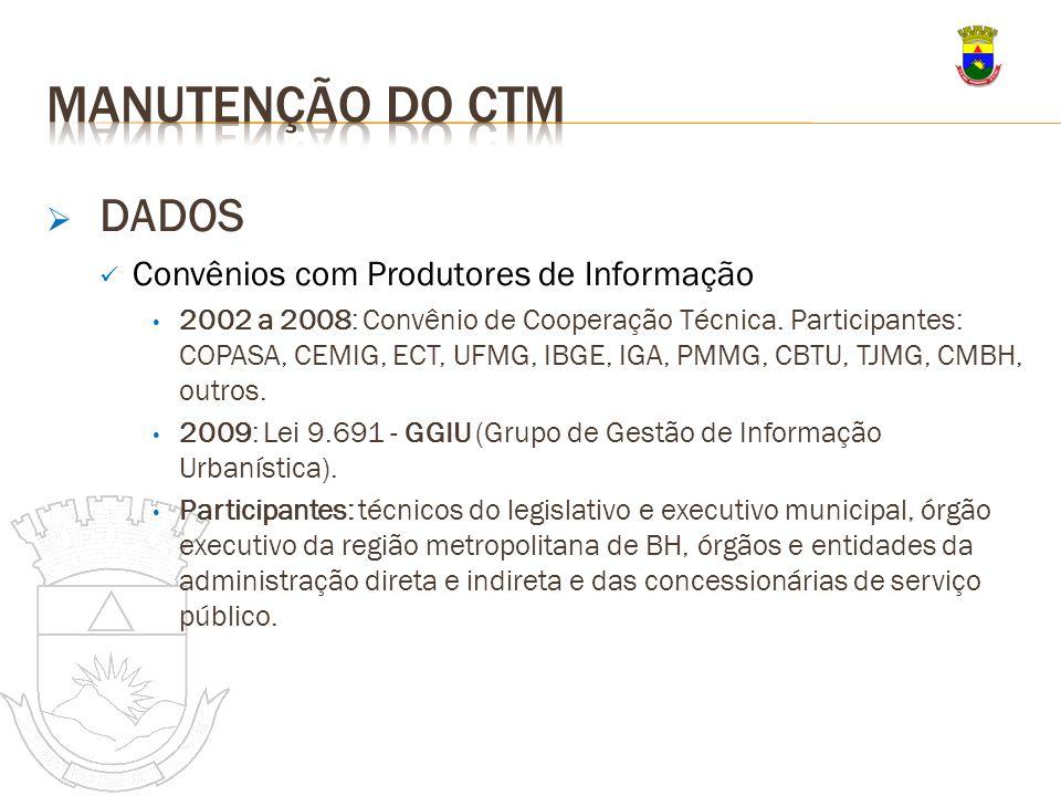 DADOS Convênios com Produtores de Informação 2002 a 2008: Convênio de Cooperação Técnica. Participantes: COPASA, CEMIG, ECT, UFMG, IBGE, IGA, PMMG, CB