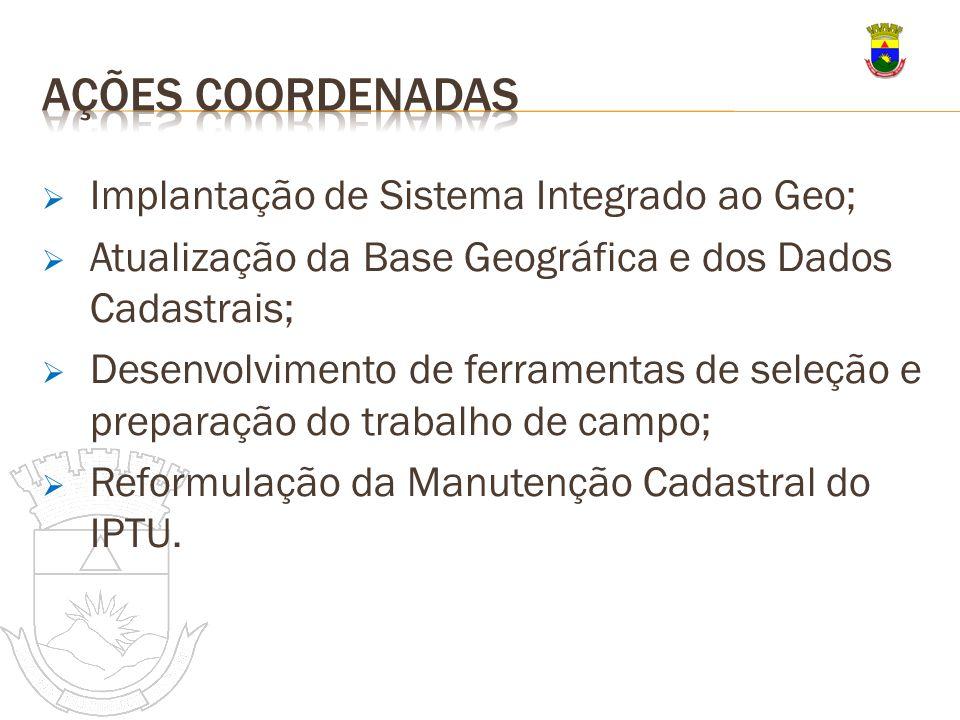 Implantação de Sistema Integrado ao Geo; Atualização da Base Geográfica e dos Dados Cadastrais; Desenvolvimento de ferramentas de seleção e preparação