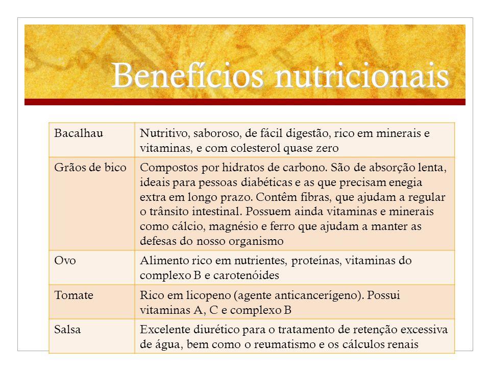Benefícios nutricionais BacalhauNutritivo, saboroso, de fácil digestão, rico em minerais e vitaminas, e com colesterol quase zero Grãos de bicoCompost