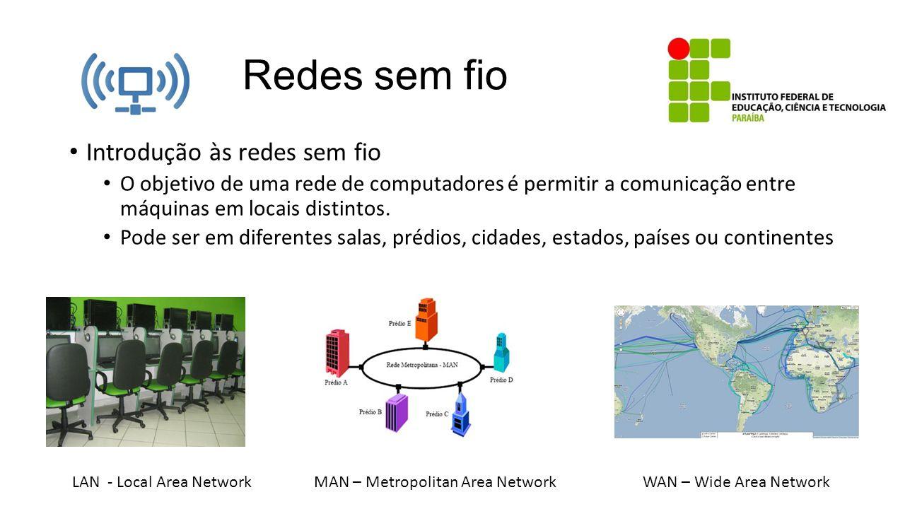 Redes sem fio Introdução às redes sem fio O objetivo de uma rede de computadores é permitir a comunicação entre máquinas em locais distintos. Pode ser