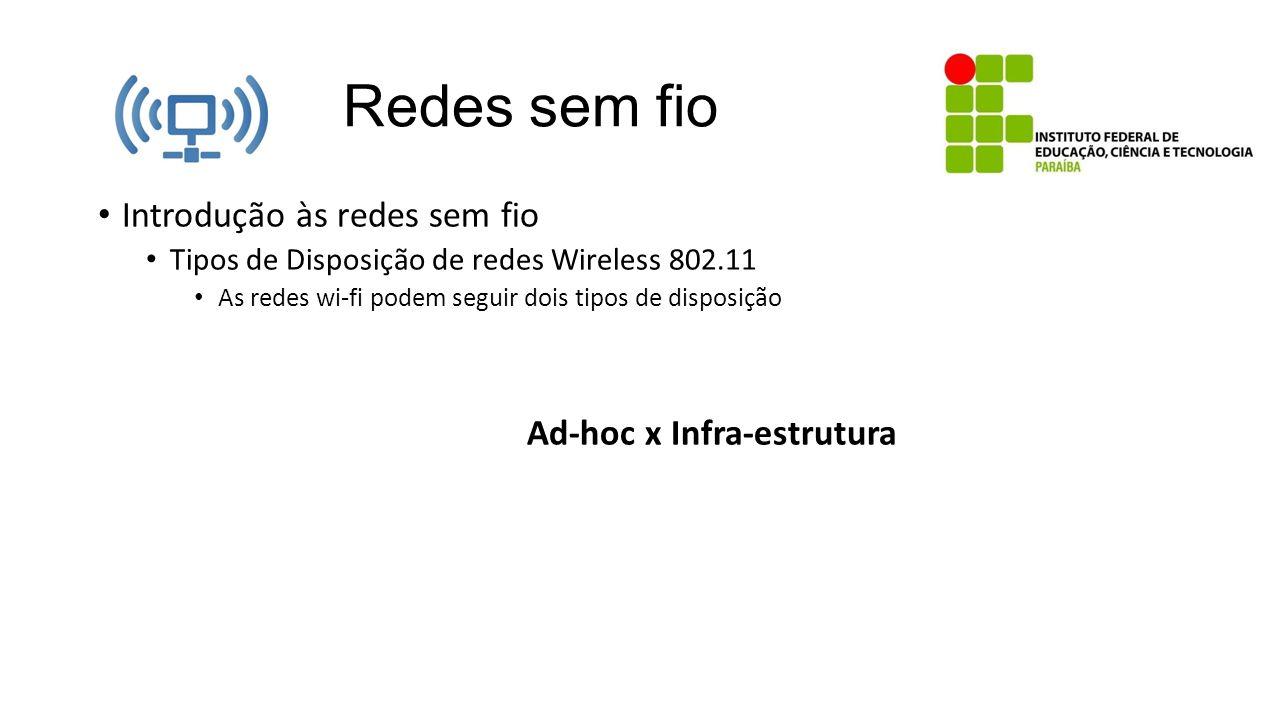 Redes sem fio Introdução às redes sem fio Tipos de Disposição de redes Wireless 802.11 As redes wi-fi podem seguir dois tipos de disposição Ad-hoc x I