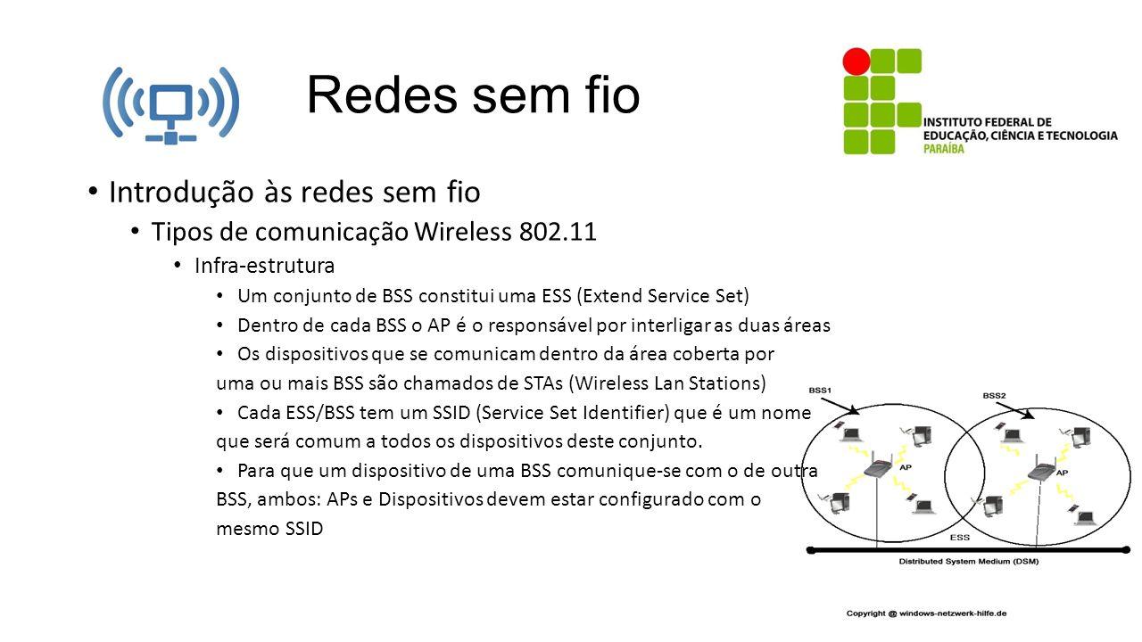 Redes sem fio Introdução às redes sem fio Tipos de comunicação Wireless 802.11 Infra-estrutura Um conjunto de BSS constitui uma ESS (Extend Service Se