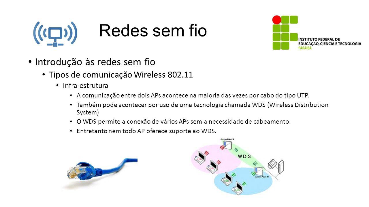 Redes sem fio Introdução às redes sem fio Tipos de comunicação Wireless 802.11 Infra-estrutura A comunicação entre dois APs acontece na maioria das ve