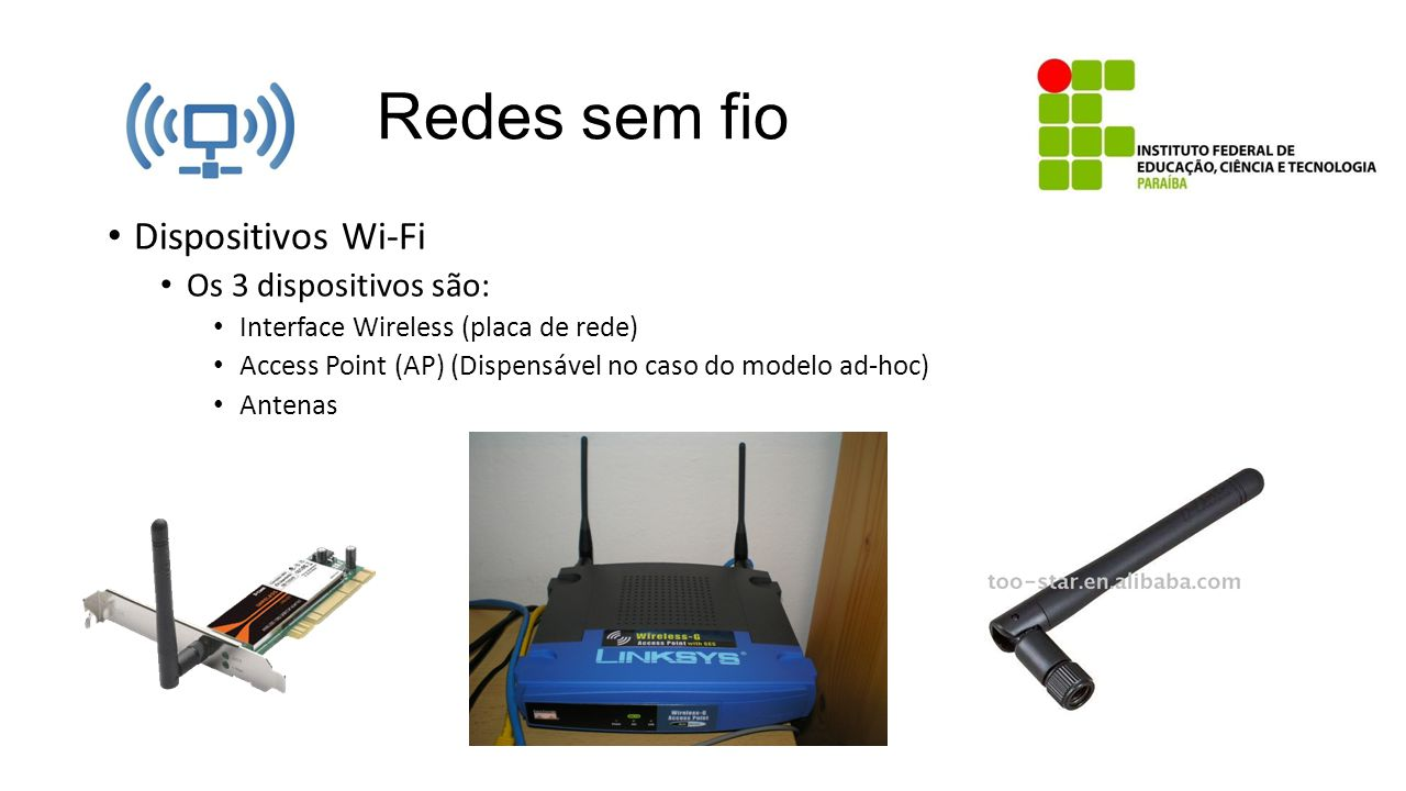 Redes sem fio Dispositivos Wi-Fi Os 3 dispositivos são: Interface Wireless (placa de rede) Access Point (AP) (Dispensável no caso do modelo ad-hoc) An