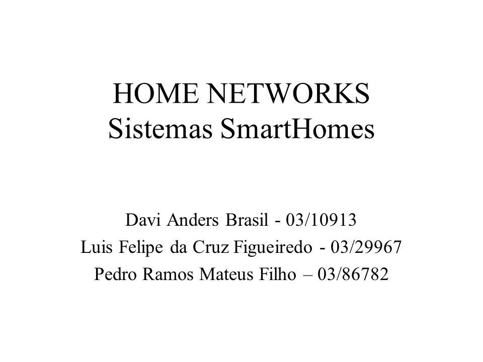 HOME NETWORKS Sistemas SmartHomes Davi Anders Brasil - 03/10913 Luis Felipe da Cruz Figueiredo - 03/29967 Pedro Ramos Mateus Filho – 03/86782