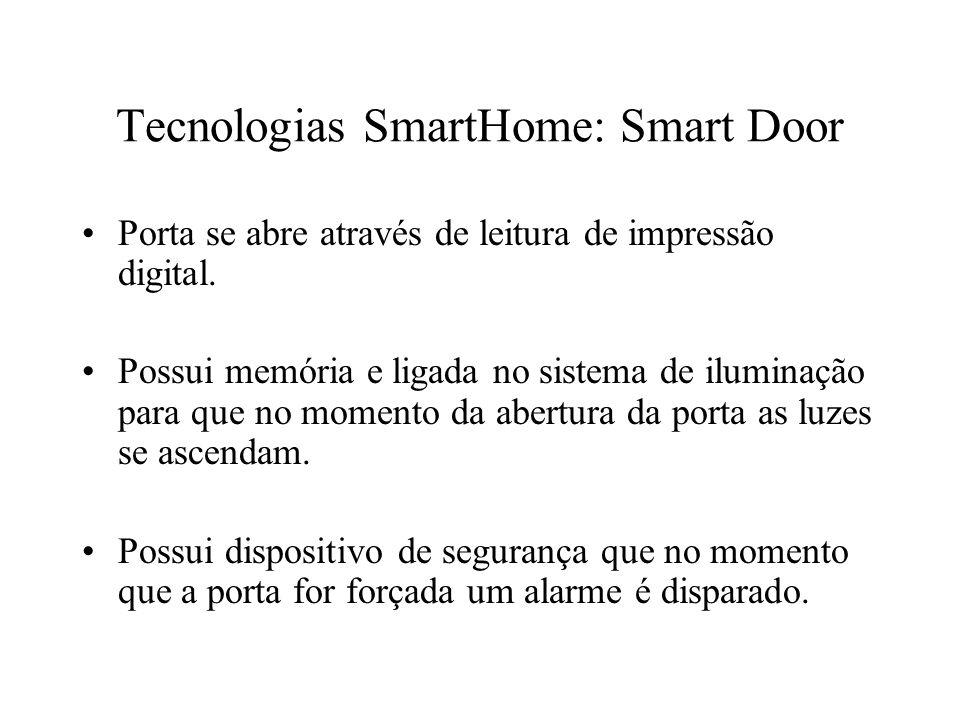 Tecnologias SmartHome: Smart Door Porta se abre através de leitura de impressão digital. Possui memória e ligada no sistema de iluminação para que no