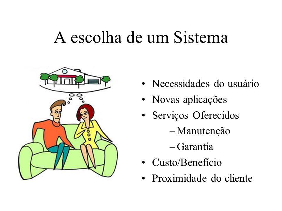 A escolha de um Sistema Necessidades do usuário Novas aplicações Serviços Oferecidos –Manutenção –Garantia Custo/Benefício Proximidade do cliente