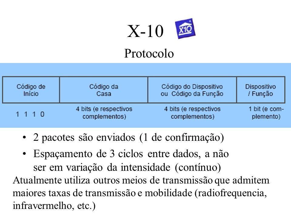 X-10 Protocolo Atualmente utiliza outros meios de transmissão que admitem maiores taxas de transmissão e mobilidade (radiofrequencia, infravermelho, e
