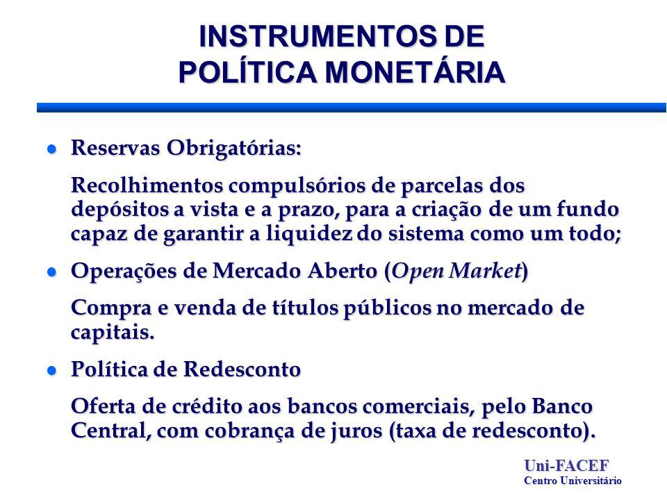 INSTRUMENTOS DE POLÍTICA MONETÁRIA l Reservas Obrigatórias: Recolhimentos compulsórios de parcelas dos depósitos a vista e a prazo, para a criação de
