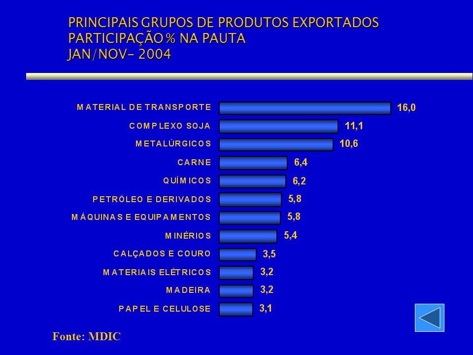 PRINCIPAIS GRUPOS DE PRODUTOS EXPORTADOS PARTICIPAÇÃO % NA PAUTA JAN/NOV- 2004 Fonte: MDIC