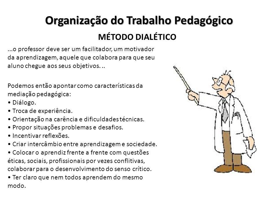 Organização do Trabalho Pedagógico MÉTODO DIALÉTICO...o professor deve ser um facilitador, um motivador da aprendizagem, aquele que colabora para que