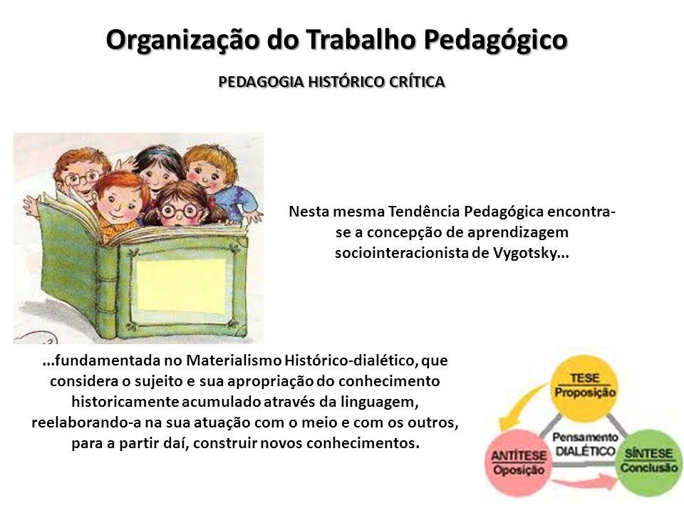 Organização do Trabalho Pedagógico...fundamentada no Materialismo Histórico-dialético, que considera o sujeito e sua apropriação do conhecimento histo