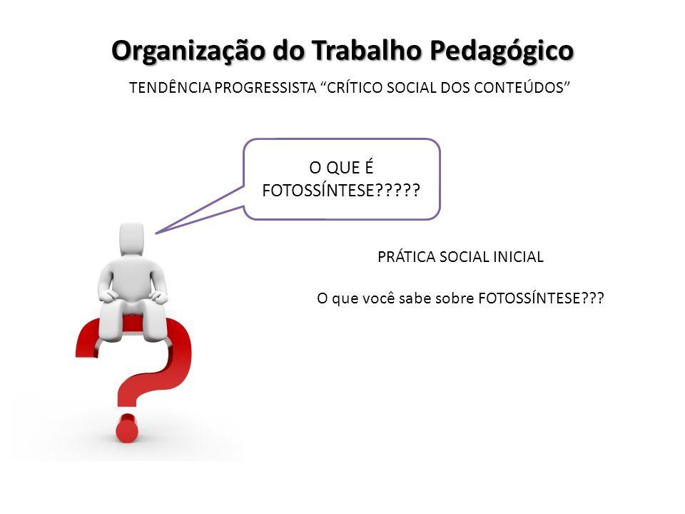 Organização do Trabalho Pedagógico TENDÊNCIA PROGRESSISTA CRÍTICO SOCIAL DOS CONTEÚDOS O QUE É FOTOSSÍNTESE????? PRÁTICA SOCIAL INICIAL O que você sab